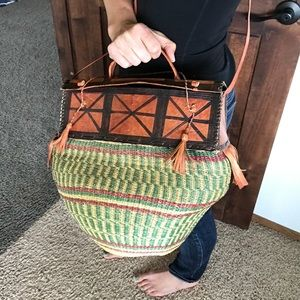 Handbags - Festivals! Handwoven Basket Leather Detail Bag